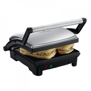 The best way to make paninis is with the non-stick Russell Hobbs panini grill. The panini grill can also be used to grill meat, chicken, and sausages.