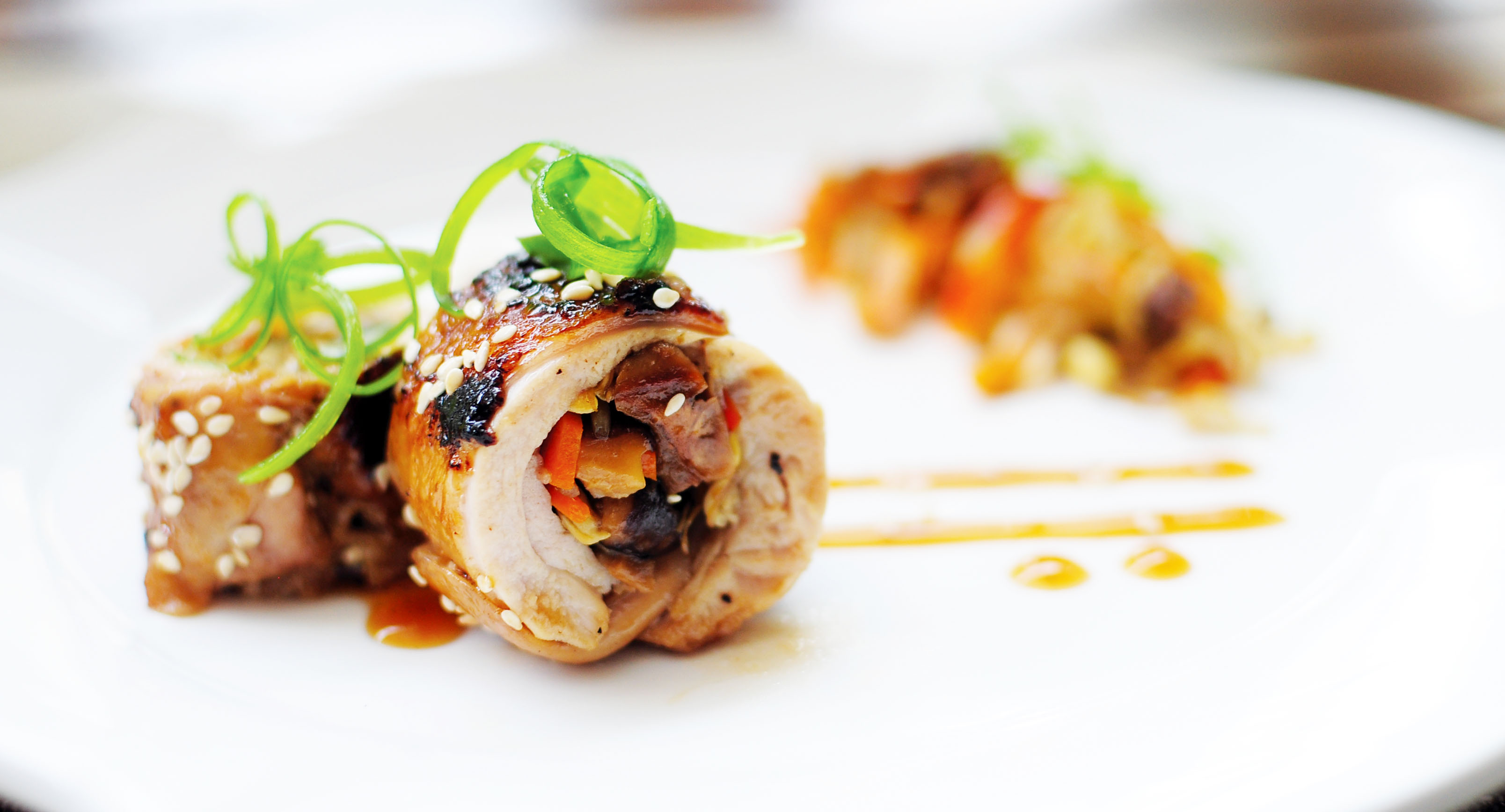 Teriyaki Roulade of Chicken Stuffed with Bean Sprouts and ...