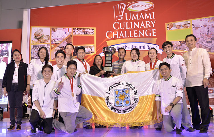 UST is the back-to-back Umami Bowl Champion and the winner of the National Cooking Showdown for the My Own Umami Creation Luzon-Visayas-Mindanao Showdown.