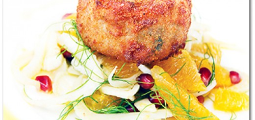 CRAB CAKES WITH FENNEL AND POMEGRANATE