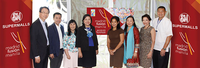 Madrid Fusion Manila 2015 partners with SM Supermalls (L-R): SMX general manager Dexter Deyto; SM Mall of Asia AVP operations Perkin So; SM Mart Inc. SVP marketing communications group Millie Dizon; SM Supermalls president Annie Garcia; Chef Margarita Fores; DOT director of market development and Madrid Fusion Manila project director Verna Covar-Buensuceso; Mielle Esteban of Arum Estratigias Internacionalización and SM Supermalls SVP marketing Jonjon San Agustin.