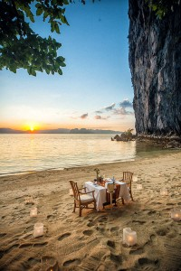 Romantic Sunset Dinner by the beach at Lagen Island Resort