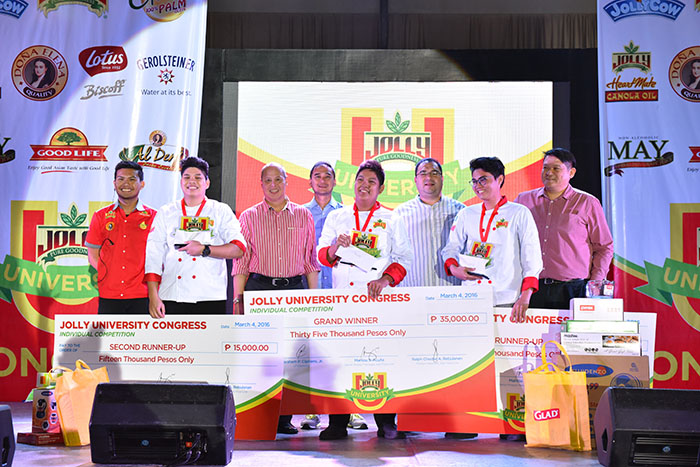 The Jolly University Individual Category winners : L-R John Pestin (2nd runner-up), John Mendoza (Grand winner), Lorenzo Joaquin (1st runner-up) with Jolly Food Line's Product Associate, Ralph Rebulanan; Fly Ace General Manager Ramon Daez;  Executive Vice President for Sales and Marketing Larry Cochanco ; Vice President for Sales Bart Canon and Vice President for Marketing Abe Cipriano.