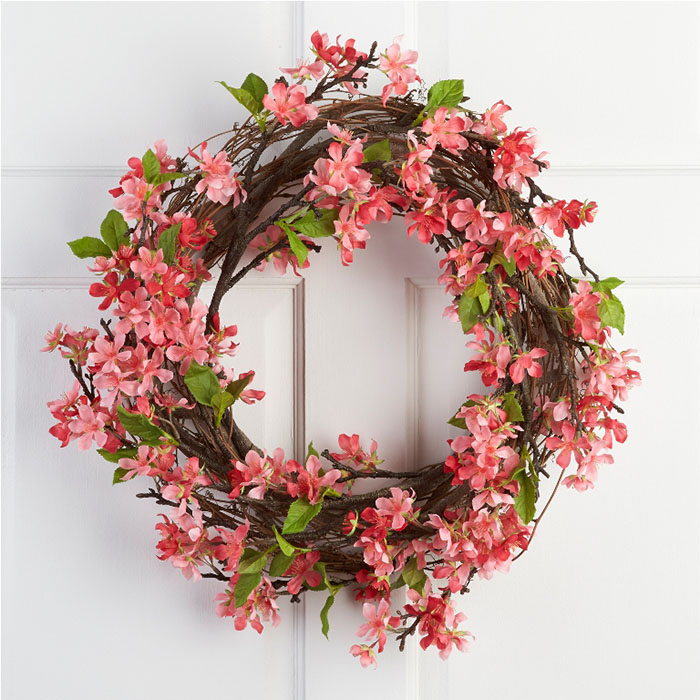 Cheerful pink Apple Blossoms Wreath will brighten each day with the fresh colors of springtime.