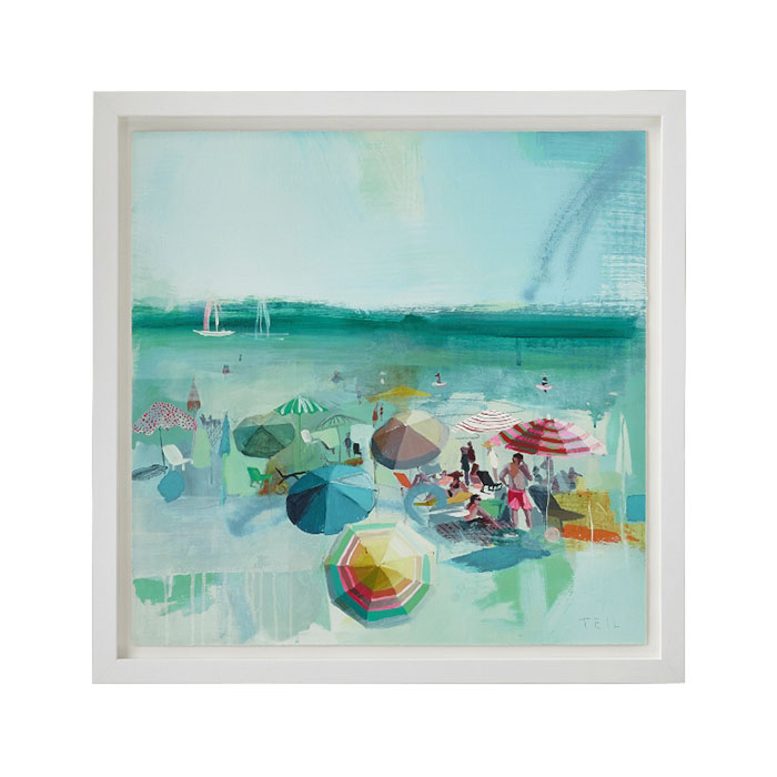 Beach Dear Print Wall Decor Teil Duncan captures the buzz of activity and the relaxed cool of the beach in this lively composition punctuated by the colorful geometry of beach umbrellas and blankets. This giclée reproduction on paper captures all the detail of the original acrylic painting. Hand-signed by the artist, the print floats on a white mat and simply framed in matte white wood.