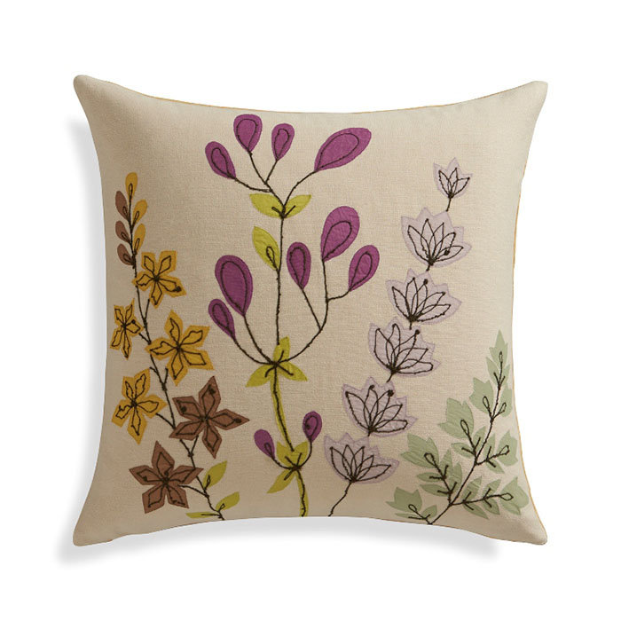 """Gabby 16"""" Pillow Cover Cotton chambray pillow provides a serene setting for a profusion of delicate blooms. Sheer organdy appliqués provide rich color and shape, delightfully detailed with lines of fine-textured, boucle yarn. Pillow reverses to plush cotton velvet in yellow."""