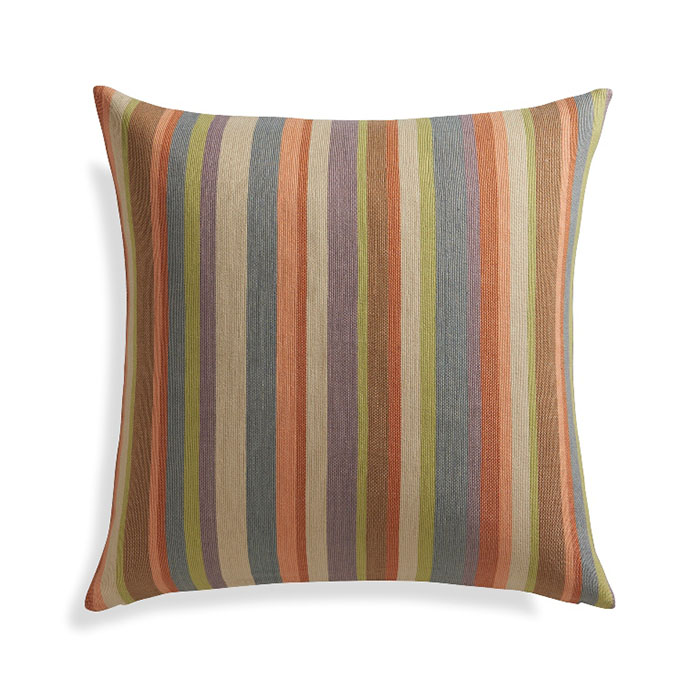 """Gibson 23"""" Pillow Cover Hand-dyed cotton-blend yarn is woven on traditional looms to create a classic French stripe with a muted multicolored palette."""