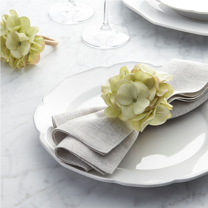 This handmade Green Hydrangea Napkin Ring brings natural beauty to the spring-summer table, and the garden indoors.
