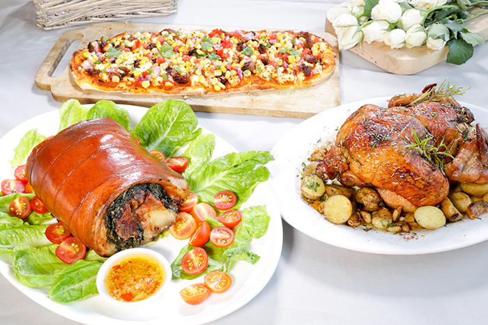 Sisterfields - Laing Stuffed Lechon Roll, Pugon Rosemary   Chicken and Longganisa Pizza Canape