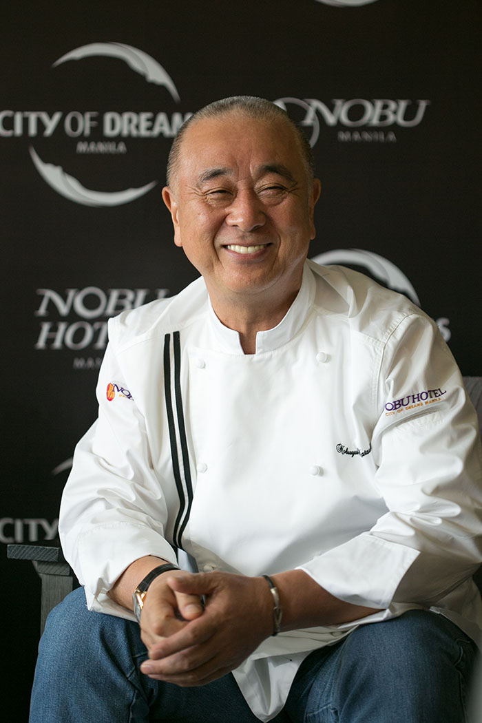the famed Chef Nobu himself  during one of his visits to Nobu Manila