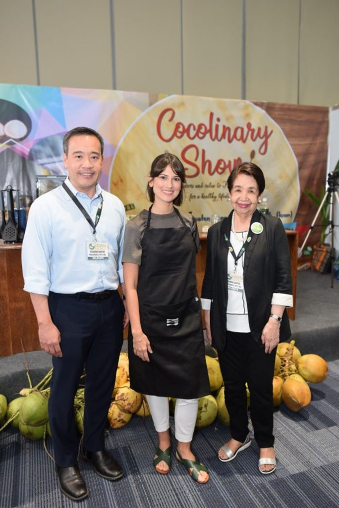 Bianca King joins the family of ProSource and NUCO for the 2nd World Coconut Congress. In the photo (L-R) Ricky E. Santos, ProSource Managing Director; Bianca King; Teresa Santos, ProSource President.