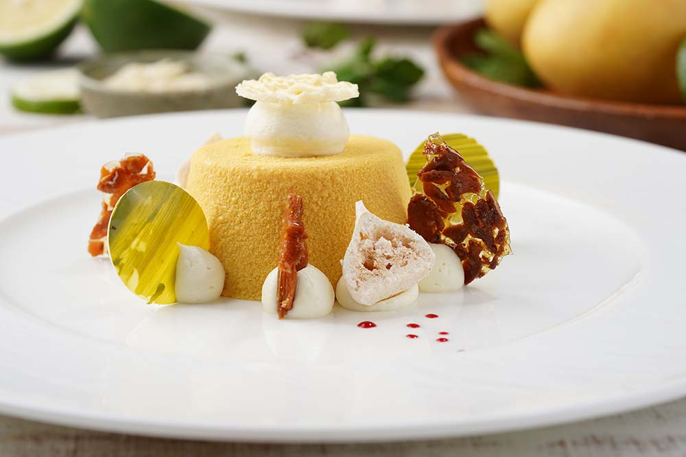 Mango Passionfruit Tart with Almond Nougatine and Lime Meringue copy