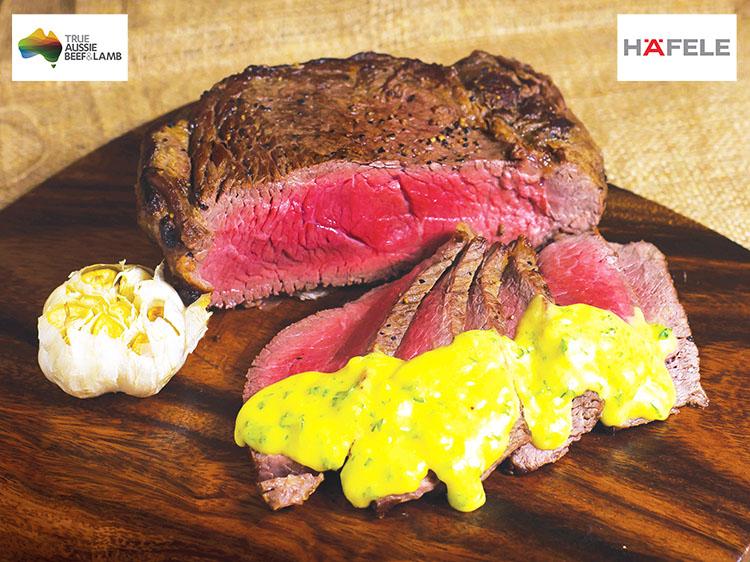 Australian Sirloin Steaks with Roasted Garlic Hollandaise Sauce