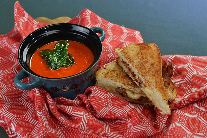B and P - Tomato Soup with Choice of Sandwich (Pesto Cheese or Bacon Cheese)