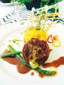 Beef Tenderloin Steak with Maitre de Hotel Beurre Sweet Potato and Carrot Puree Asparagus Spears