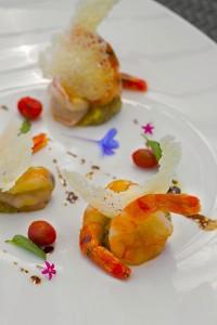 Bohol Prawns with Caviar Eggplant and Parmesan Chips