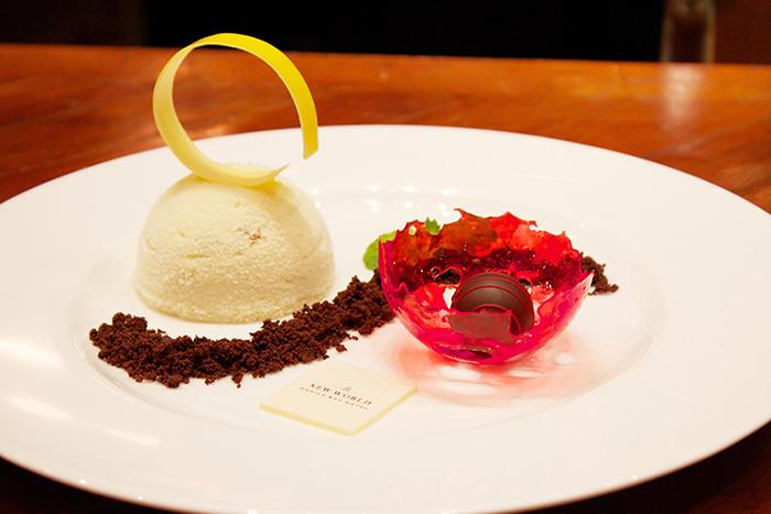 Dessert with a flair of MAYURA WAGYU BEEF. White Truffle and White Chocolate Parfait with Red Pepper &  MAYURA BEEF WAGYU Sauce