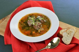 Vegetable and Meatball Soup with Pesto and Parmesan