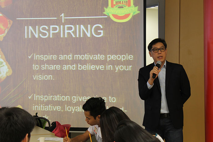 Mr. Jun Cochanco, president of Fly Ace Corporation,    sharing his experiences and wisdom in leading Fly Ace Corporation