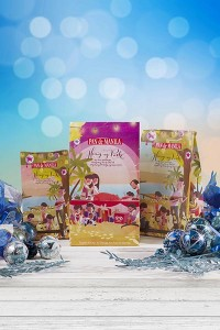 Pan de Manila's colorful Christmas packs featuring the  artwork of JC Roxas.