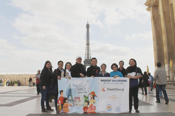 The meet-up in Paris between The French Baker team and its 25th anniversary 'Visit Paris in Summer 2015' promo winner's group of four at Trocadero, in front of the famous Eiffel Tower. From left: The French Baker's Abegail Siega and Jessica Santiago, grand prize winner Alma Cielo Arroyo and husband Norman Arroyo, The French Baker's founder and CEO Johnlu Koa, Arroyo's mom Ma. Erlinda de Ramos and her sister Ma. Darlynn del Rosario, and The French Baker's Maricel Pagsuyuin and Cherry Grace Benito.