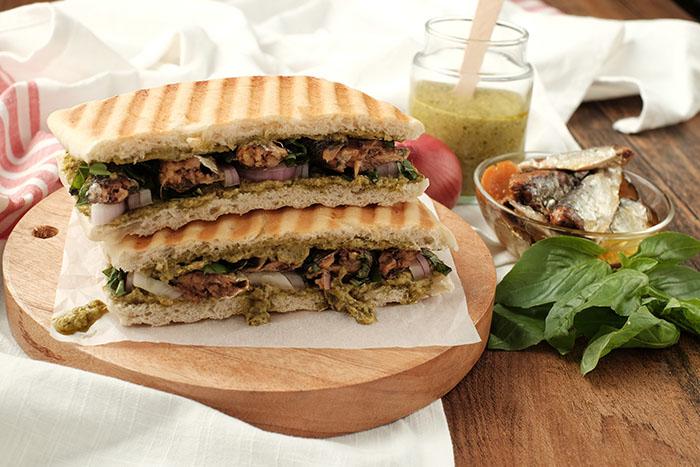 grilled panini spanish sardines sandwich