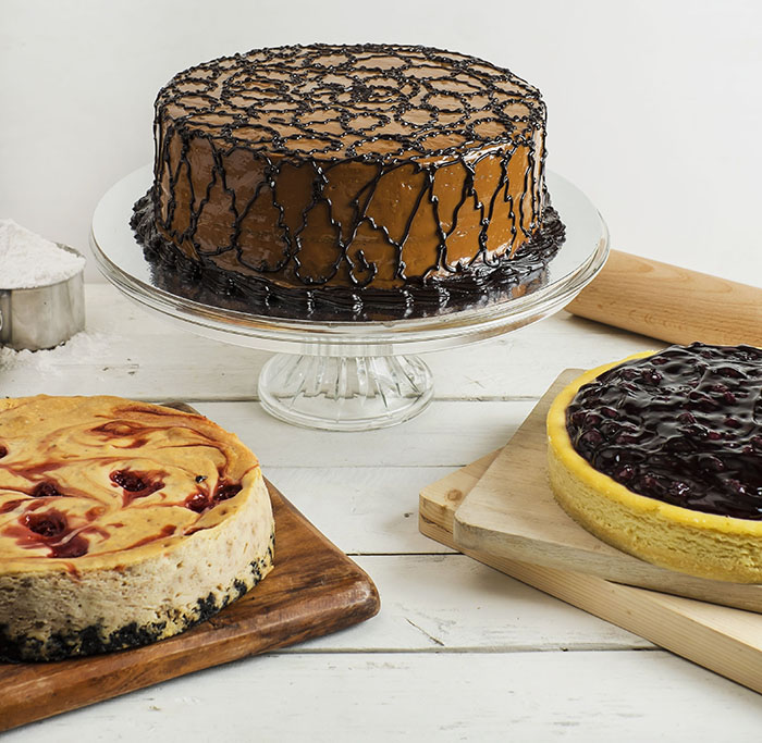 Chocolate Caramel, Cherry Walnut Cheesecake and Baked   Blueberry Cheesecake