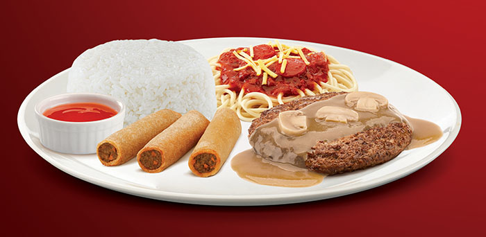 Enjoy the taste of forever in the 1-pc. Burger Steak with rice together with a half-portion of everyone's favorite Jolly Spaghetti, as well as 3 pieces Shanghai rolls, regular drink and mini sundae in the Burger Steak Super Meal for only P125.