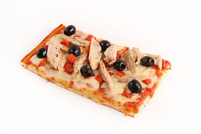 Bite into Casa Italia's Pizza Capricciosa, filled with chicken and black olives.