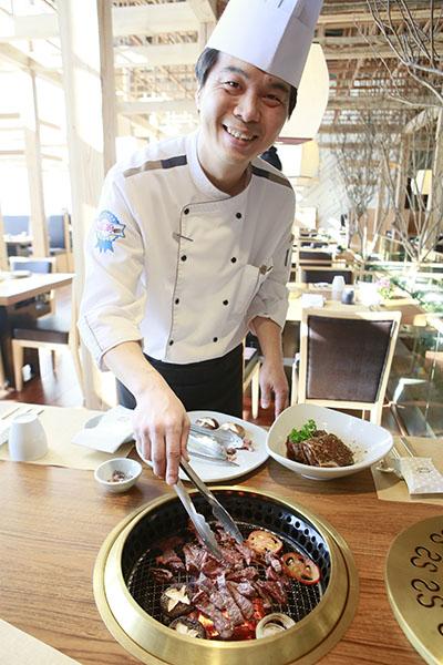 Head Chef Gi Won Park Grilling