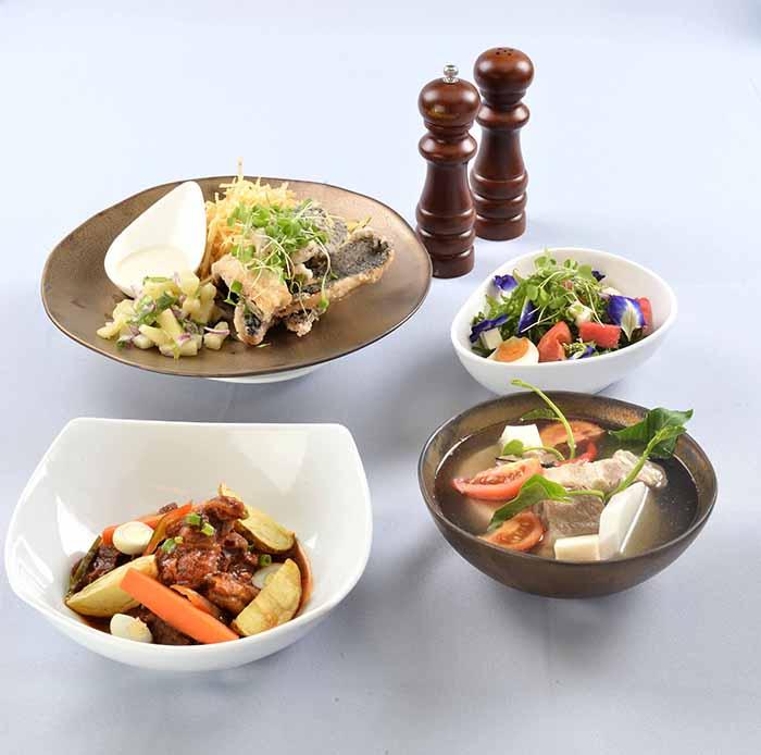 C2 Valentine's sets - Beef Mechado, Seared Tilapia with   Coconut Emulsion, Pako Salad with Kesong Puti and Pork Ribs Sinigang sa   Bayabas