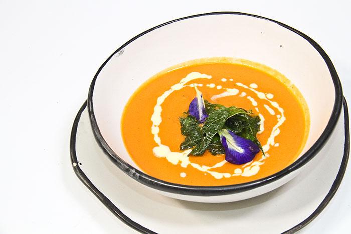 Cream of Roasted Tomato Soup with Crispy Kale