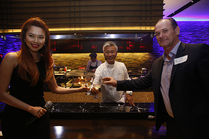 Visa Country Manager for the Philippines and Guam Stuart Tomlinson (rightmost), together with Chef Hidemasa Yamamoto and Bianca Valerio, leads the toast to celebrate the launch of the bigger and better Epic Dining by Visa.