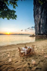 Romantic Sunset Dinner by the beach at Lagen Island Resort