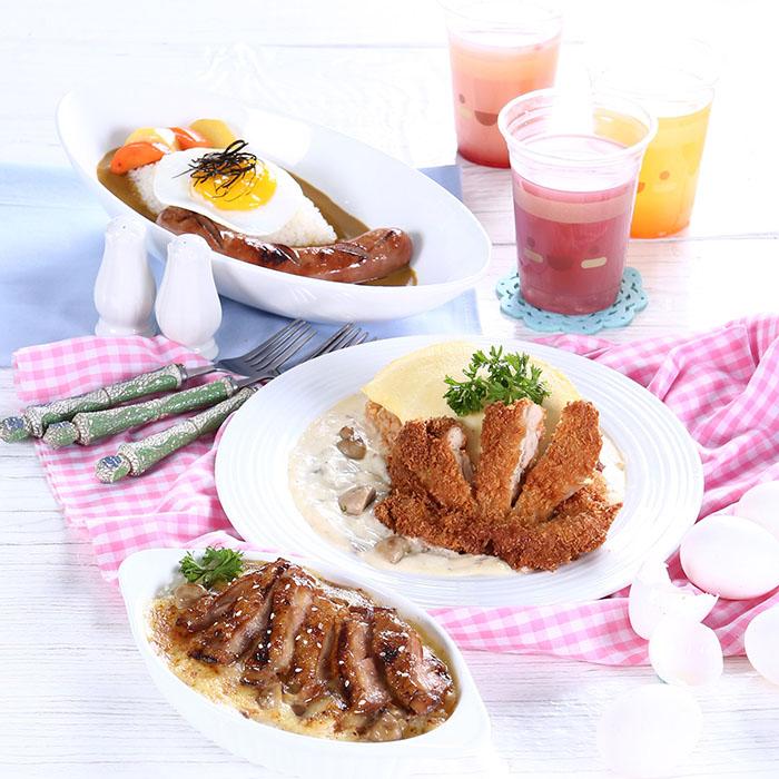 Sausage Curry, Chicken Katsu Omurice, Teriyaki Chicken   Doria