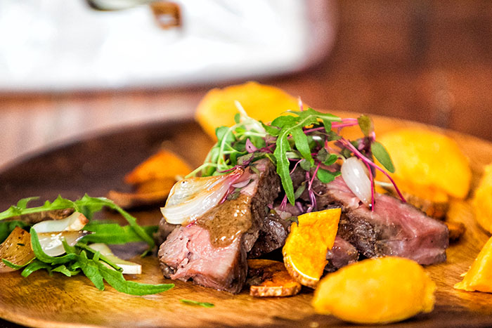 Grilled Ribeye with Fried Sweet Potato, Sweet Potato Puree, Grilled Mushroom and Gravy.  (San Miguel Pure Foods ingredients: Monterey Ribeye and/or Tenderloin, Wandah Gravy, Magnolia All-Purpose Cream, Magnolia Gold Butter Unsalted)