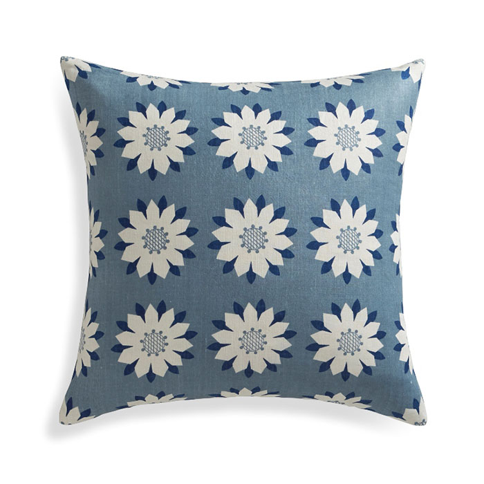 """Posie 18"""" Pillow Cover Ivory daisy-like flowers bloom in a garden-inspired grid in a fresh design by Neisha Crosland. Screenprinted on silk for subtle sheen and texture, pillow reverses to solid blue cotton crepe and looks great paired with our Chloe pillow."""