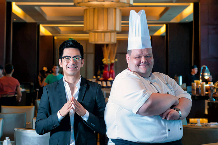 (From left) Michael Anthony Sagaran, Marcomm Manager and Executive Chef, Martin Bower