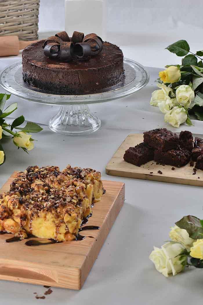 Toffee Brioche Pudding with Chocolate Sauce, Tablea   Cheesecake, Cacao Nib Brownie Pan