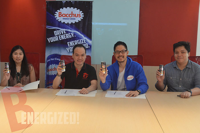 Bacchus Energy Drink co-presents Rampage 2016. Signing the  agreement are, from left EJ Dimagmaliw, Jan Chiong and Amen Say, President  of DDPI