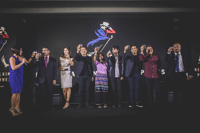 (L-R) Vanee Gosiengfiao; His Excellency Asif Ahmad, British Ambassador to the Philippines; Ginger Conejero, Brillante Mendoza; Aisa Mijeno; Raphael Mijeno, Arnold Arre; Ambeth Ocampo, and Diageo Philippines Marketing Director Cesar Gangoso.
