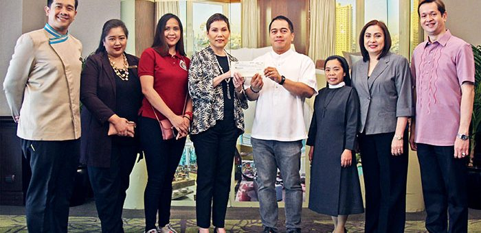 "In the photo from left are: Mr. Christian Sanchez, Diamond Hotel Ugnayan Chairman; Ms. Melanie Pallorina, Diamond Hotel Public Relations Manager; Ms. Archie Prado, Kanlungan ni Maria Secretary; Ms. Vanessa Ledesma-Suatengco, Diamond Hotel General Manager; Rev. Fr. Antonio Gerardo ""Bong"" Sanchez, Kanlungan ni Maria Head; Sr. Marivic Caliso, SHC, Kanlungan ni Maria OIC-Admin; Ms. Sunshine Robles, Diamond Hotel Director of Sales and Marketing; and Mr. Jeffrey dela Paz, Diamond Hotel Human Resources Manager."