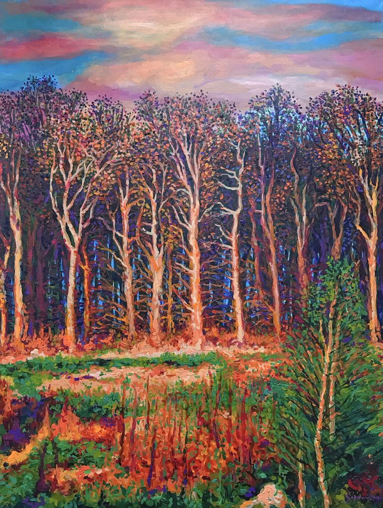 "Baguio Sunset by Michael Sagaran, 36"" x 48"" acrylic on canvas"