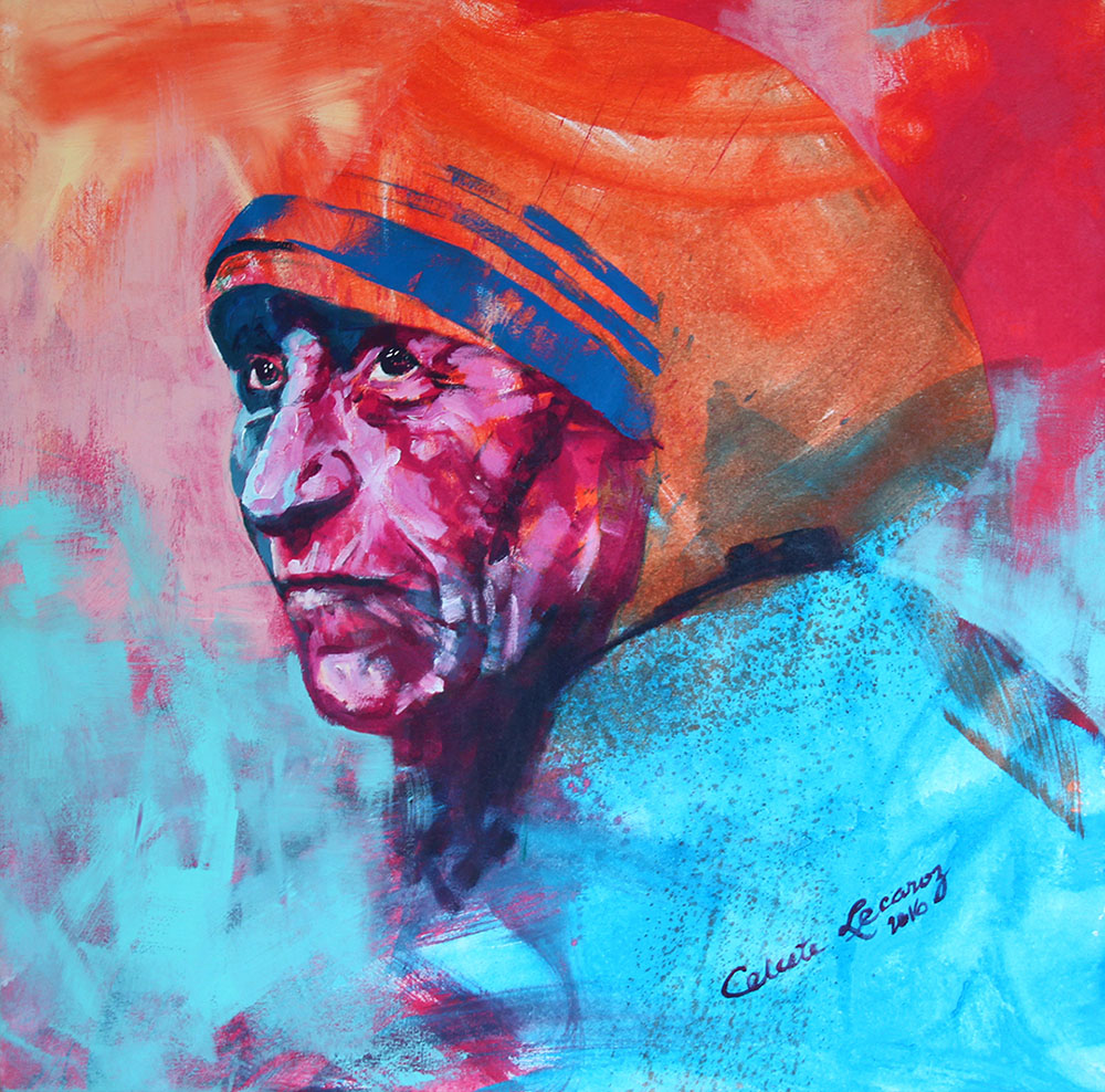 "Mother Theresa in Spontanrealismus by Lecaroz, 36"" x 36"", acrylic on canvas"