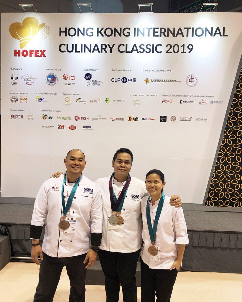 HOFEX 2019 medalists. L-R Chefs Kerwin Funtanilla, Miguel Antonio Lorino and Krystle San Juan.