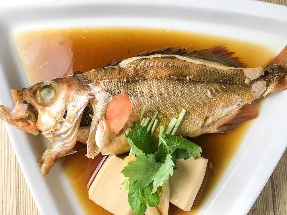 Mebaru Nitsuke, saltwater grilled fish, is one Kitsho's featured dishes in its summer cuisine.