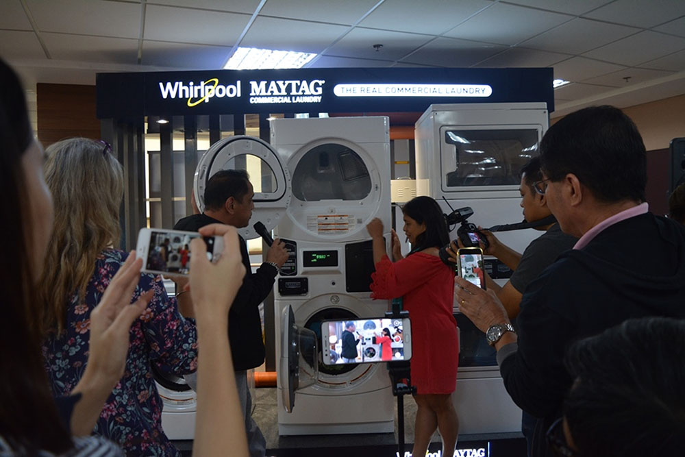 product demo of Whirlpool-Maytag Commercial Laundry equipment