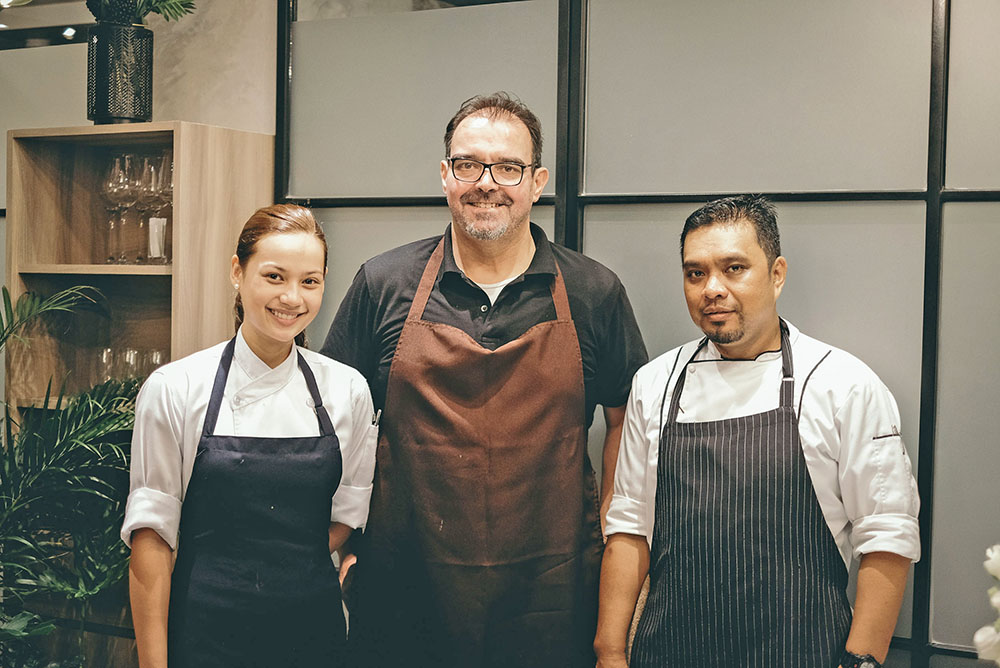 Chef de Cuisine Ciara Fabie Teotico, Pinot General Manager and Head of Culinary Functions Chef Markus Gfeller, and Sous Chef Ricky Vallejo