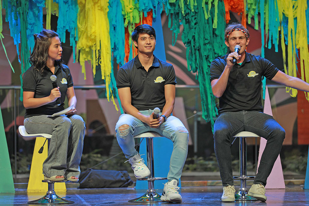 """Juan for Fun 2019 travel coaches (from left) Joyce Pring, Mikael Daez, and Kyle """"Kulas"""" Jennermann talk about their travel experiences around the Philippines."""