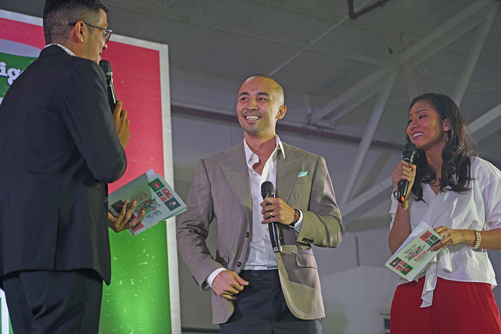 Mikko Tung (center), Ligo Vice President for Production, shares the brand's exciting efforts for the past year with hosts (from left) Aaron Atayde and Katz Salao